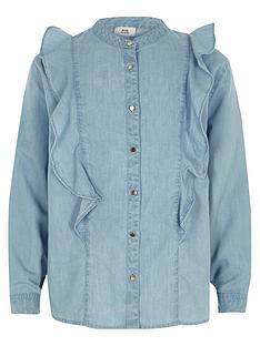 river-island-girls-light-blue-denim-frill-shirt