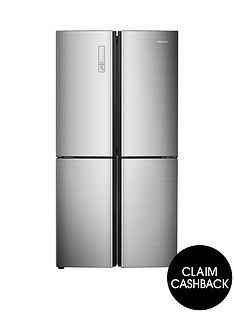 hisense-rq689n4ac1-91cm-wide-total-non-frost-american-style-multi-door-fridge-freezer-stainless-steel-look