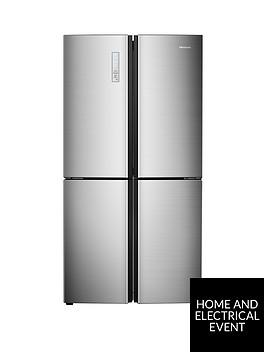 hisense-rq689n4ac1-91cm-wide-total-non-frost-american-style-multi-door-fridge-freezer-stainless-steel-look