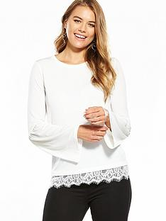 v-by-very-jersey-gathered-lace-hem-top-white