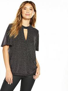 v-by-very-metallic-choker-angle-sleeve-top