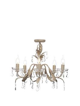 Cream Finish 5 Light Flush Chandalier