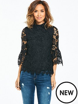 myleene-klass-lace-flute-sleeve-blouse-black