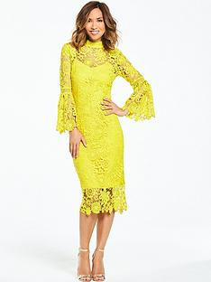 myleene-klass-lace-midi-dress-with-flute-sleeve-chartreuse