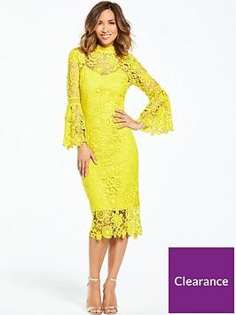 myleene-klass-lace-midi-dress-with-flute-sleeve-chartreuse