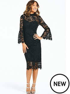 myleene-klass-lace-midi-dress-with-flute-sleeve-black