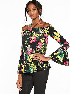 v-by-very-bardot-printed-top