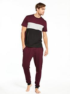 v-by-very-short-sleeve-colour-block-and-jersey-pj-set