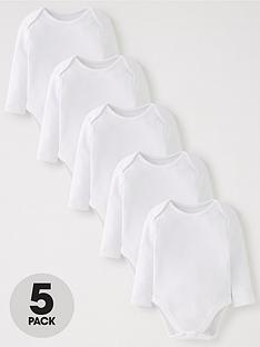 mini-v-by-very-baby-unisex-5-pack-long-sleeve-white-bodysuits