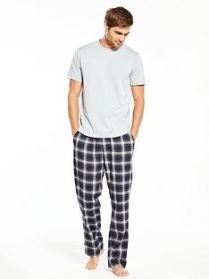 v-by-very-short-sleeve-top-and-brushed-check-pj-set