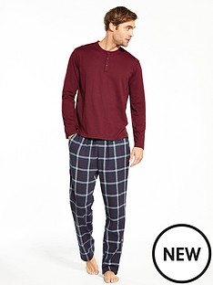 v-by-very-long-sleeve-grandad-top-and-brushed-pj-set