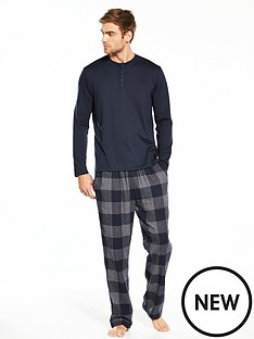 v-by-very-long-sleeve-grandad-top-and-buffalo-check-pj-set