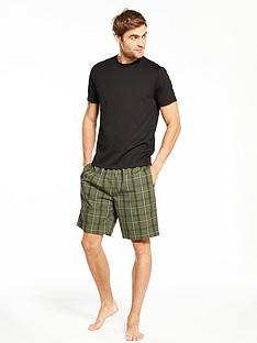 v-by-very-short-sleeve-top-and-woven-check-short-pj-set