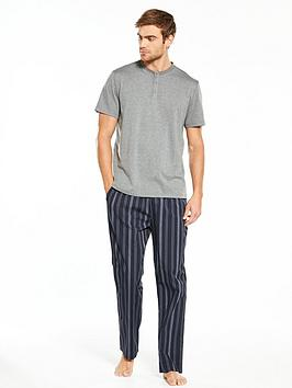 v-by-very-short-sleeve-grandadstripe-long-woven-pj-set