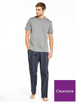 v-by-very-short-sleeve-grandadstripe-long-woven-pj-set