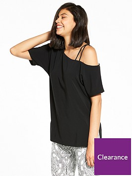 river-island-black-strap-detail-tee