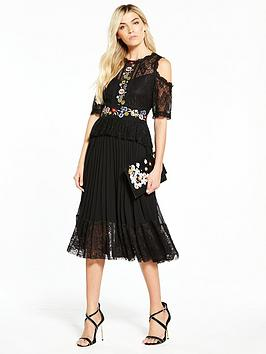 v-by-very-embroidered-pleated-midi-dress-black