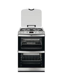 Aeg 17166GmMn 60Cm Gas Built Under Double Oven  Stainless Steel