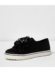 river-island-3d-flower-slip-on-plimsoll