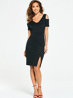 myleene-klass-v-neck-cold-shoulder-bodycon-dress-black