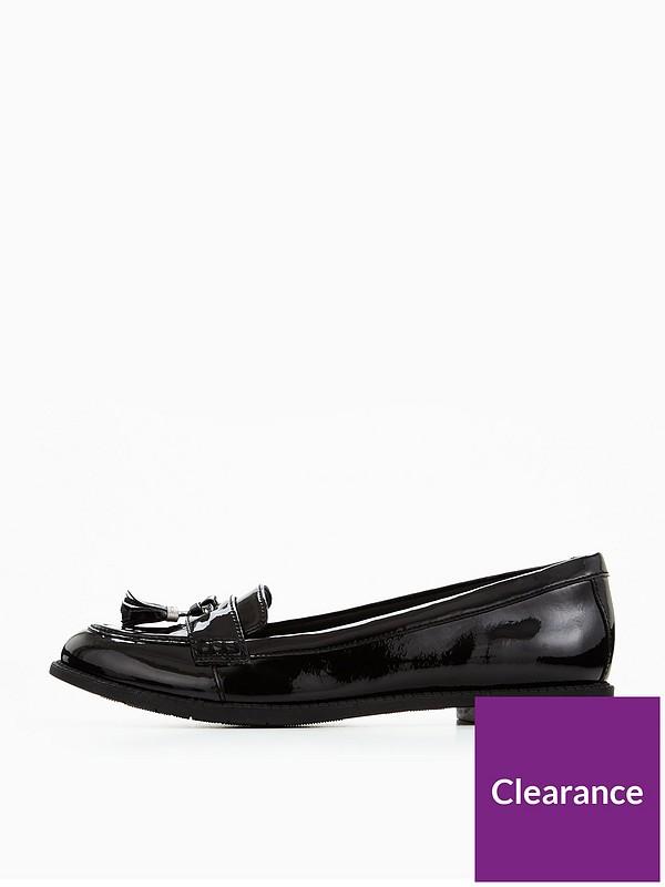 Clarks Preppy Edge Girls Senior School Shoes 3.5 UK Black Patent