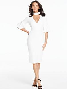 michelle-keegan-fluted-sleeve-bodycon-midi-dress