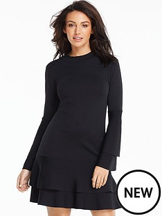 michelle-keegan-fluted-sleeve-and-hem-compact-knitted-dress