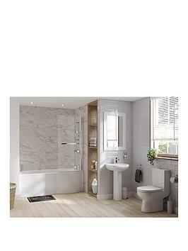 Natura P Shape RH Bath Suite Inc Shower &Amp Taps