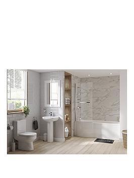 Natura P Shape LH Bath Suite Inc Shower &Amp Taps