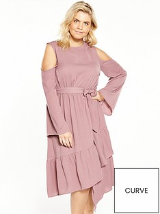 lost-ink-curve-cold-shoulder-dress-with-asymmetricalnbsphem-pink