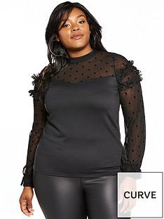 lost-ink-curve-spot-mesh-sweat-top-black