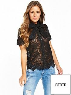 lost-ink-petite-lace-pussy-bow-shirt-black