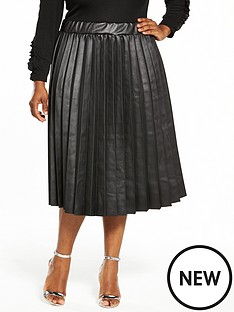 lost-ink-curve-coated-pleated-skirt-black