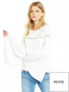 lost-ink-petite-double-layer-pleated-top-cream
