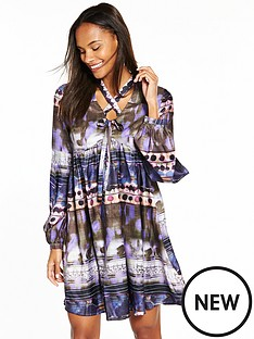 lost-ink-smudge-spot-tie-front-bubble-sleeve-shift-dress