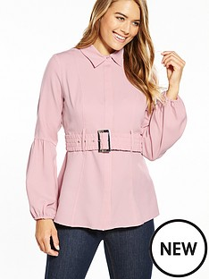 lost-ink-rouched-belted-shirt-pink