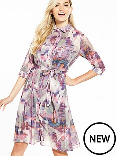 lost-ink-printed-split-hem-shirt-dress-pink