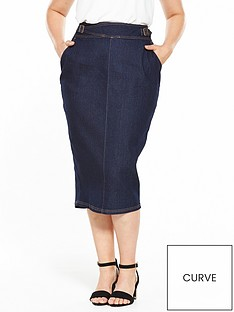 lost-ink-curve-pencil-skirt-in-denim-with-buckle-waist