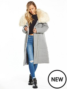 lost-ink-faux-fur-collar-longline-wool-padded-coat