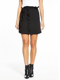 lost-ink-frill-waist-textured-mini-skirt