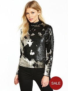 v-by-very-petite-sequin-turtle-neck-top