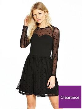 v-by-very-petite-spot-mesh-ponte-skater-dress