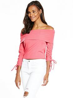 v-by-very-rib-bardot-top-pink