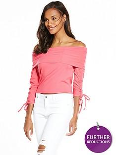 v-by-very-rib-bardot-top-pink