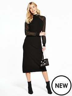 v-by-very-sheer-sleeve-knitted-midi-dress
