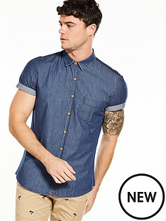 v-by-very-short-sleeve-chambray-shirt