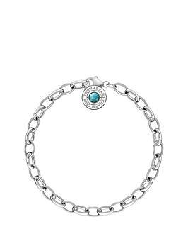 Thomas Sabo Thomas Sabo Sterling Silver Turquoise Stone Charm Club Bracelet