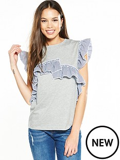 river-island-river-island-grey-mix-frill-tee