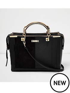 river-island-metal-handle-panelled-tote