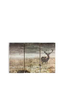 Graham & Brown Graham & Brown Highland Stag Print On Fir Wood Picture